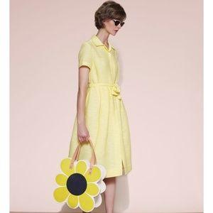 Orla Kiely slub silk yellow dress UK 6